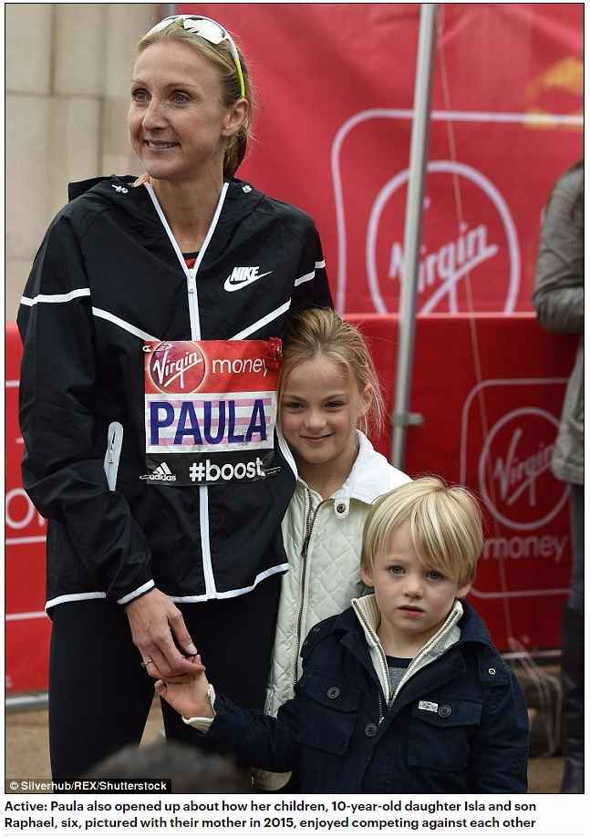 daughter Isla and son Raphael, six, pictured with their mother in 2015, enjoyed competing against each other son Raphael, six, pictured with their mother in 2015, enjoyed competing agaidaughter Isla and son Raphael, six, pictured with their mother in 2015, enjoyed competing against each othernst each other