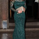 2 Catherine Duchess of Cambridge was dressed to impress wearing a floor length dark green Temperley dress that featured delicate lace detailing Photo C GETTY IMAGES