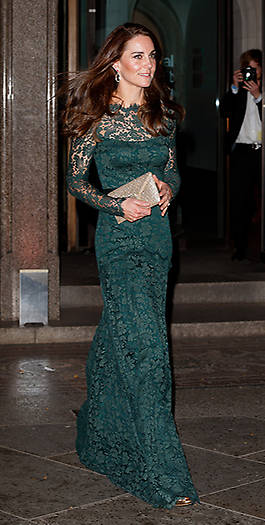 The royal was dressed to impress, wearing a floor length dark green Temperley dress that featured delicate lace detailing. Photo: © Getty Images