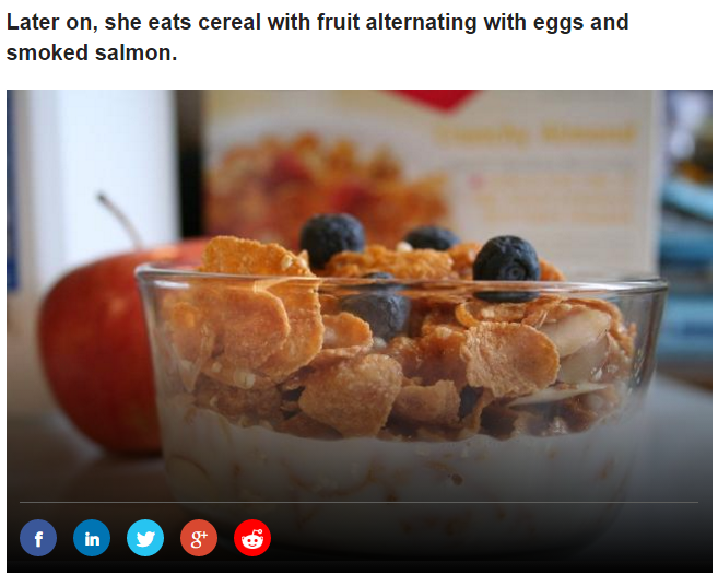 Later on, she eats cereal with fruit alternating with eggs and smoked salmon Photo (C) GETTY IMAGES