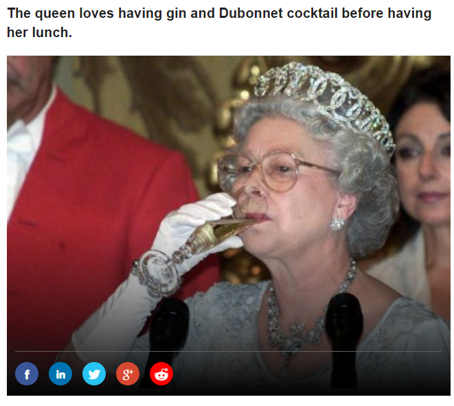 The queen loves having gin and Dubonnet cocktail before having her lunch Photo (C) GETTY IMAGES