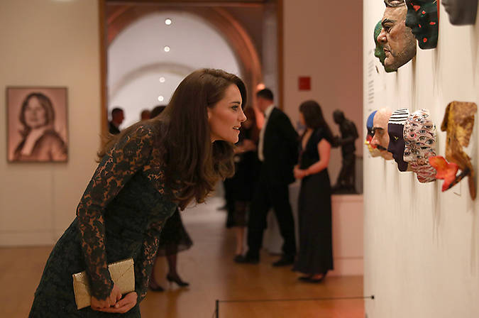 Kate, who studied history of art at university, viewed two exhibitions: Howard Hodgkin: Absent Friends and Gillian Wearing and Claude Cahun: Behind the mask, another mask. The mum-of-two took a closer look at some of the ten masks that were created especially for the evening by the likes of Dame Vivienne Westwood and Philip Treacy, to help raise funds for the museum. Photo: © Getty Images