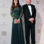 9 Catherine Duchess of Cambridge was dressed to impress wearing a floor length dark green Temperley dress that featured delicate lace detailing Photo C GETTY IMAGES