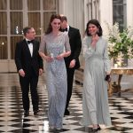 British Ambassador Edward Llewellyn left and his wife walked with the Duke and Duchess of Cambridge before a diner at the British Embassy in Paris