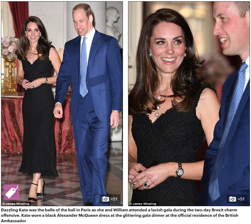 Dazzling Kate was the belle of the ball in Paris as she and William attended a lavish gala during the two-day Brexit charm offensive