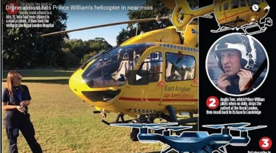 Drone almost hits Prince Williams helicopter in near miss