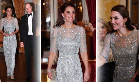 Duchess of Cambridge SHIMMERS in ice blue Jenny Packham gown for British Embassy dinner