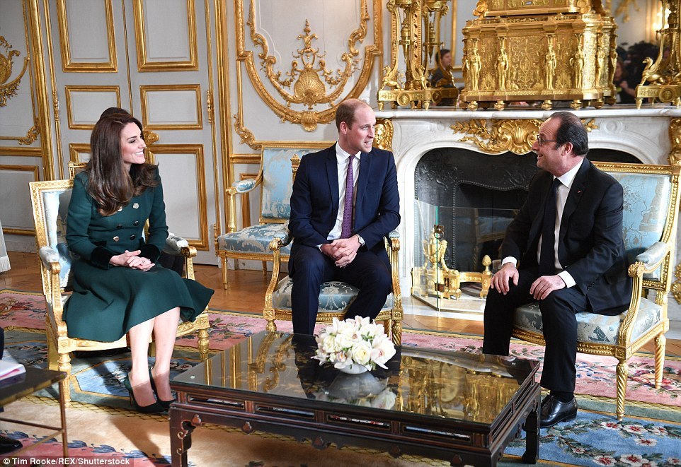 Earlier in the day the Duchess of Cambridge, Prince William and Francios Holland met at the Elysée Palace