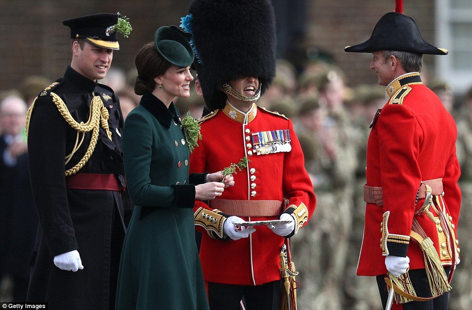 Earlier, the Duke and Duchess of Cambridge attended the annual Irish Guards' St Patrick's Day Parade in West London