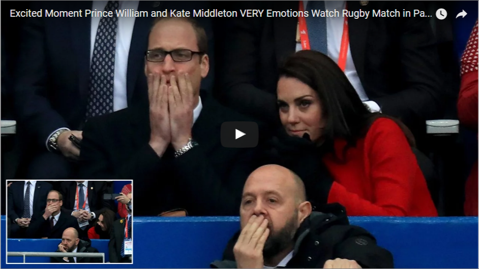 Excited, Moment, Prince William, Prince, William, Emotions, Watch, Gugby, Match, Paris