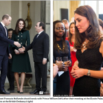 French President Francois Hollande shook hands with Prince William left after their meeting at the Elysée Palace and Kate spoke to guests at the British Embassy right