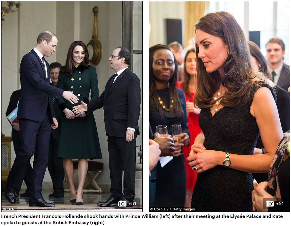 French President Francois Hollande shook hands with Prince William (left) after their meeting at the Elysée Palace and Kate spoke to guests at the British Embassy (right)