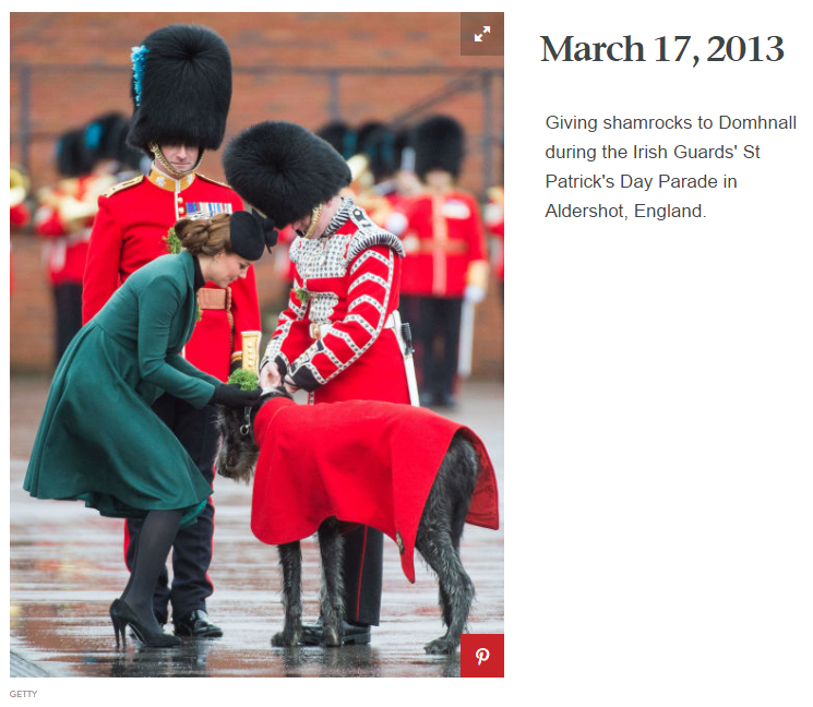 Giving shamrocks to Domhnall during the Irish Guards' St Patrick's Day Parade in Aldershot, England.