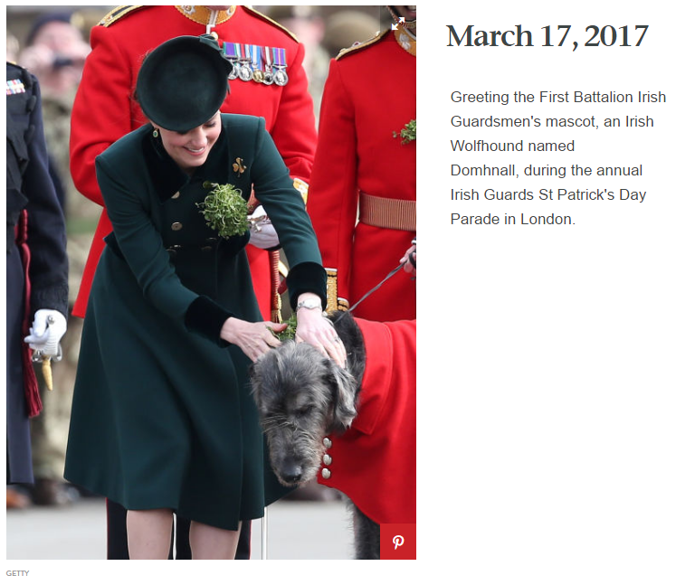 Greeting the First Battalion Irish Guardsmen's mascot, an Irish Wolfhound named Domhnall, during the annual Irish Guards St Patrick's Day Parade in London.