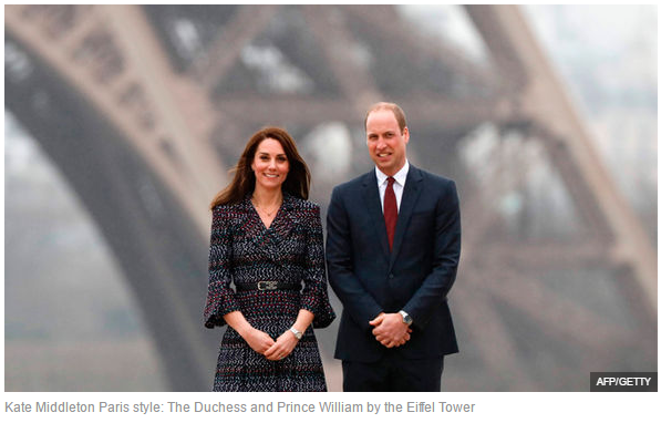 Kate Middleton Paris style The Duchess and Prince William by the Eiffel Tower 1