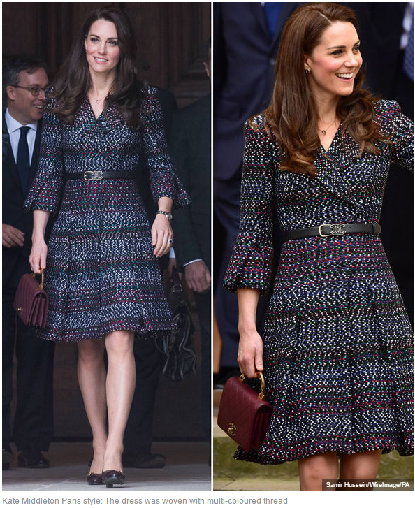 Kate Middleton Paris style The dress was woven with multi-coloured thread