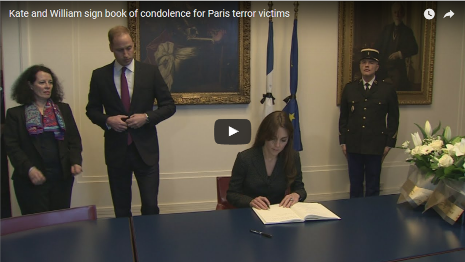 Kate Middleton Sign Book of Condolence Paris Terror Victims Paris Terror Victims Royals Visit Official Visit
