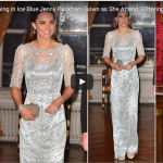 Kate Middleton Stunning in Ice Blue Jenny Packham Gown as She Attend Glittering Gala Dinner in Paris