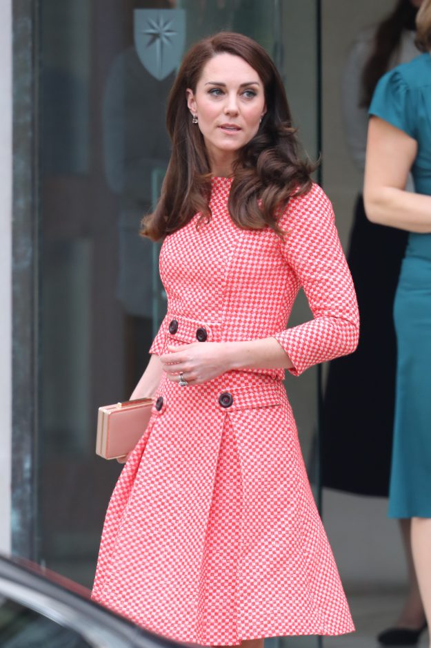 Kate Middleton re-wore a gingham suit to talk about motherhood and mental health [Wenn]