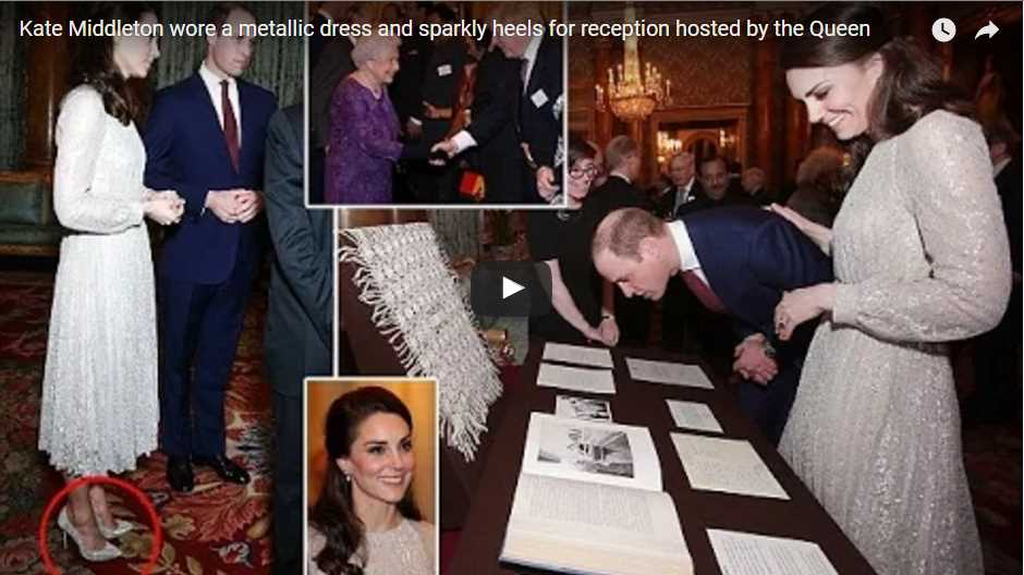 Kate Middleton wore a metallic dress and sparkly heels for reception hosted by the Queen