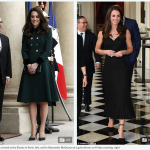 Kate arrived at the Elysée in Paris left and in Alexander McQueen at a gala dinner on Friday evening right