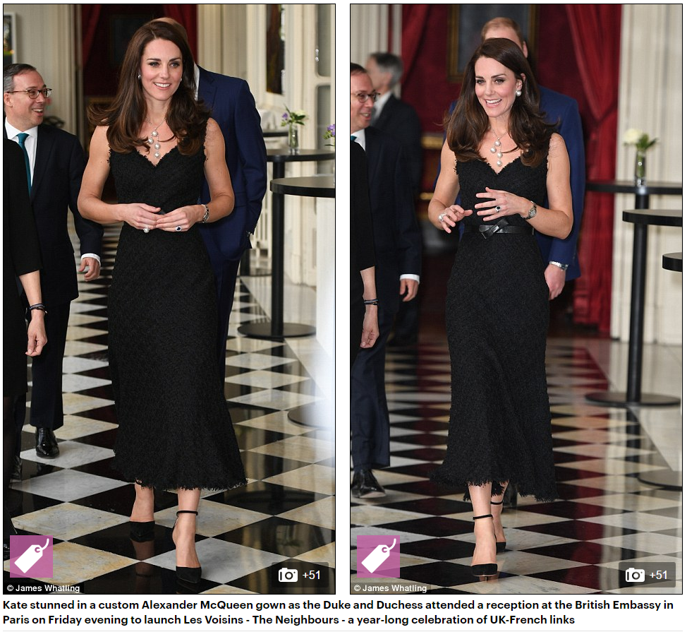 Kate stunned in a custom Alexander McQueen gown as the Duke and Duchess attended a reception at the British Embassy in Paris on Friday evening