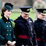 Kate wearing all green had a cascade of shamrocks the national emblem of Ireland pinned to her coat this morning