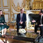 Kate wore the same green Catherine Walker outfit to meet President Hollande but the only difference was that Kate had quickly taken her hair down en route to the city