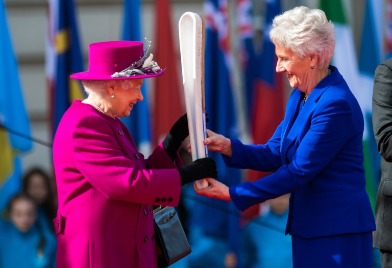 Louise Martin, CBE, President, Commonwealth Games Federation presents the Baton to Her Majesty On the Forecourt of Buckingham Palace on Commonwealth Day The Queen, accompanied by The Duke of Edinburgh and The Earl of Wessex, launched The Queen's Baton Relay for the XXI Commonwealth Games. The Games will be held on the Australian Gold Coast from 4th-15th April 2018, Monday 13th March 2017. The Queen's Baton Relay is a Games tradition that celebrates the Commonwealth's diversity, inspires community pride and excites people about the world-class festival of sports and culture to come. Louise Martin, CBE, President, Commonwealth Games Federation, Peter Beattie, AC, Chairman, Gold Coast 2018 Commonwealth Games Corporation and two Elder representatives of the Yugambeh people, were presented to Her Majesty and Their Royal Highnesses inside Buckingham Palace, and shortly afterwards, the Royal and official party made their way onto the dais on the Forecourt. Sgt Rupert Frere RLC / MoD Crown Photo (C) GETTY IMAGES
