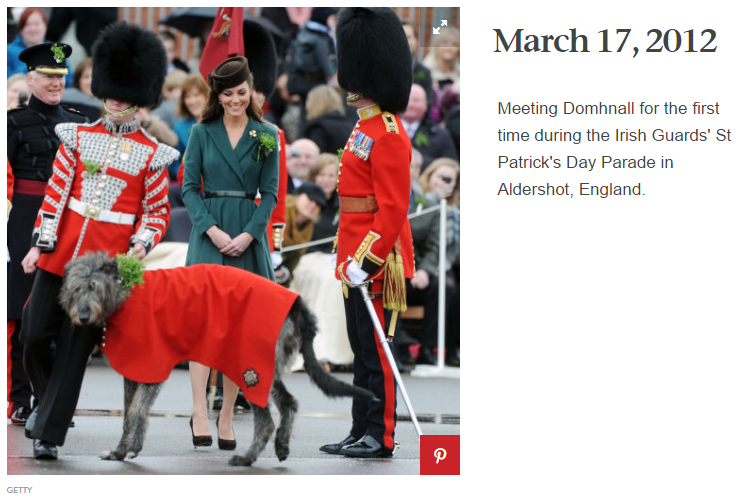 Meeting Domhnall for the first time during the Irish Guards' St Patrick's Day Parade in Aldershot, England