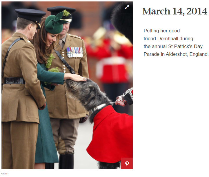 Petting her good friend Domhnall during the annual St Patrick's Day Parade in Aldershot, England