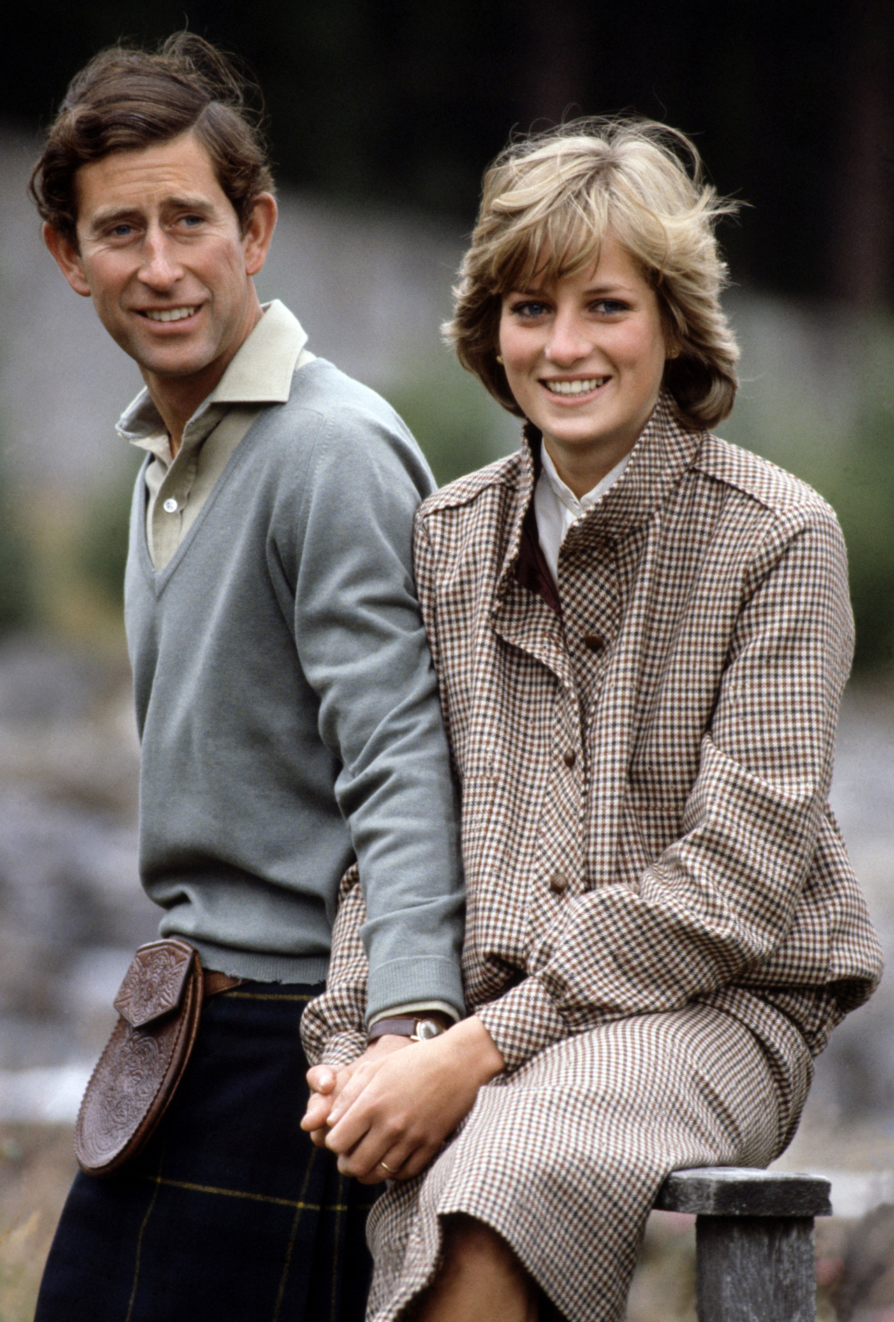 British Royalty. Scotland. 19th August 1981. Prince Charles and Princess Diana pose by the River Dee while on their honeymoon.