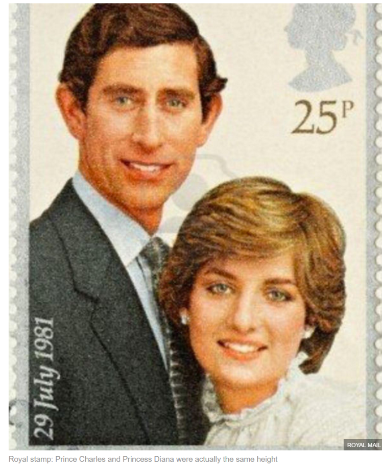Prince Charles and Princess Diana were actually the same height