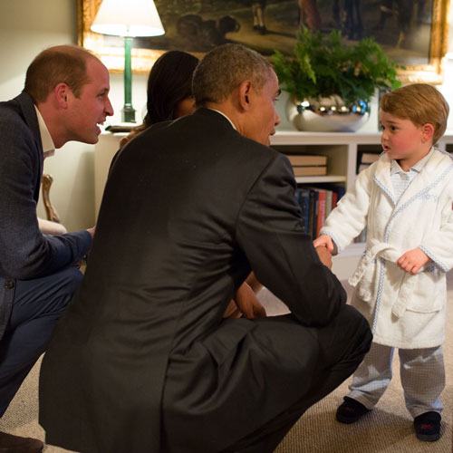 Prince George with President Obama during a presidential visit to Kensington Palace Photo (C) GETTY IMAGES