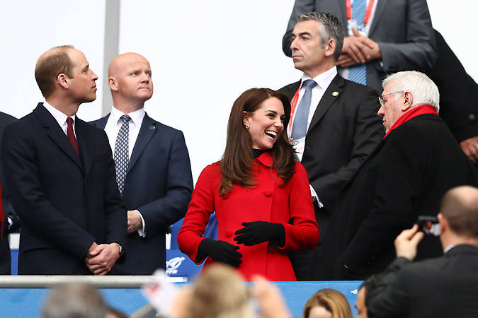 Prince William and Kate attended the Wales vs France rugby Six Nations match in Paris. Photo (C) GETTY IMAGES
