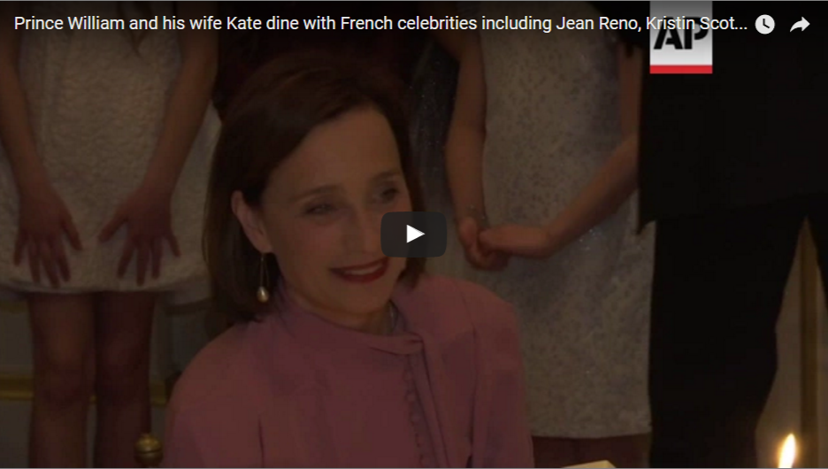 Prince William and his wife Kate dine with French celebrities including Jean Reno Kristin Scott Tho