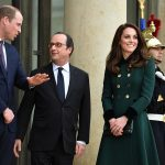 Prince William spoke to Francois Hollande at the Elysée Palace during day one of their visit to France in Paris yesterday