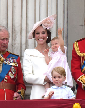 Princess Charlotte looks ready to upstage her look-alike great grandmother. She's got that royal wave going strong! Good idea to practice early Photo (C) Tony Clark , Splash News