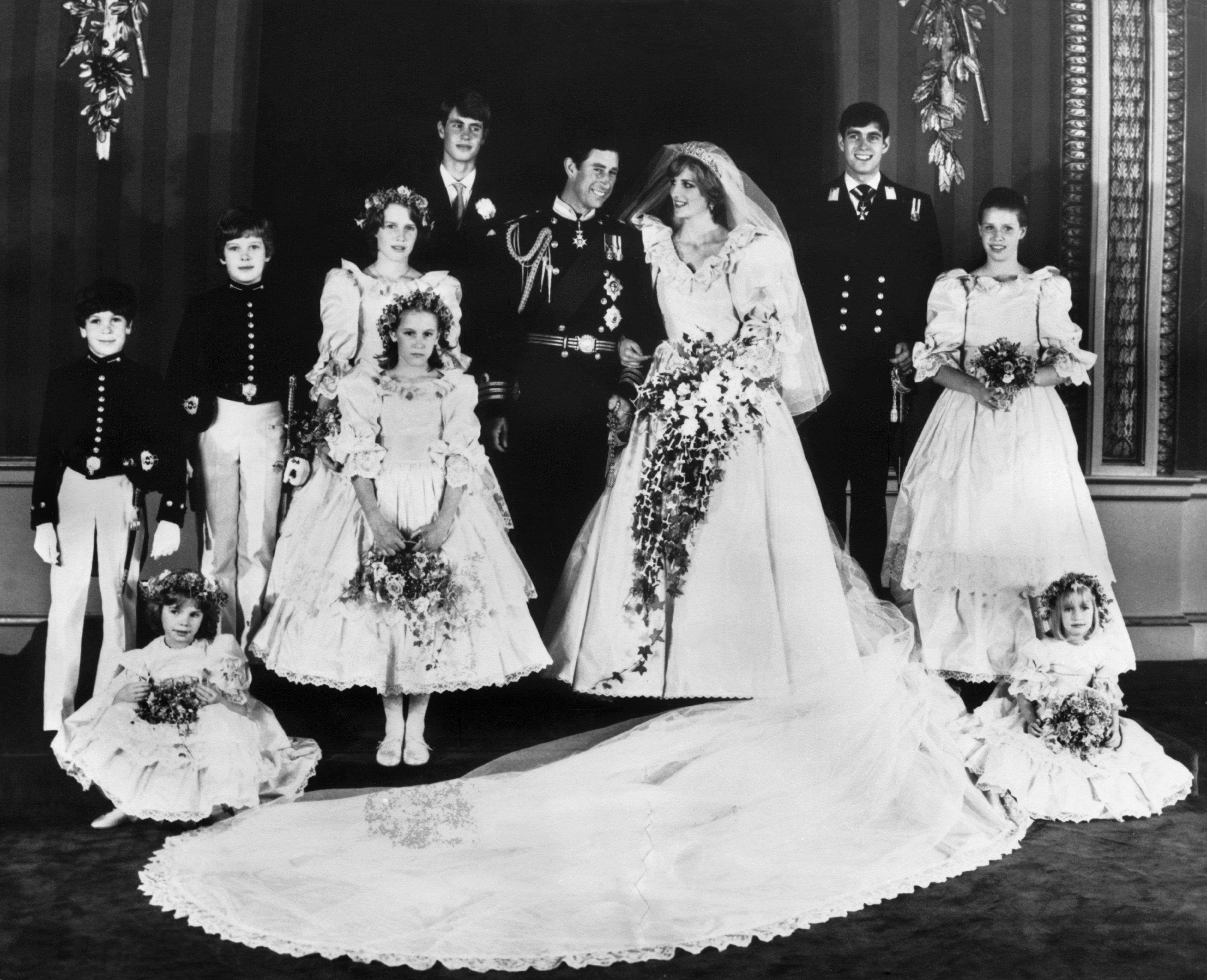 The Princess of Wales in her bridal gown at Buckingham Palace after her marriage to Prince Charles at St. Paul's cathedral in London on July 29, 1981. (AP Photo/Press Association)
