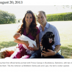 Taking their first official family portrait with Prince George in Bucklebury Berkshire with two dogs beside them
