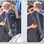 The American actress put her arm around Prince Harry who was wearing a navy blue suit and yellow corsage on Friday