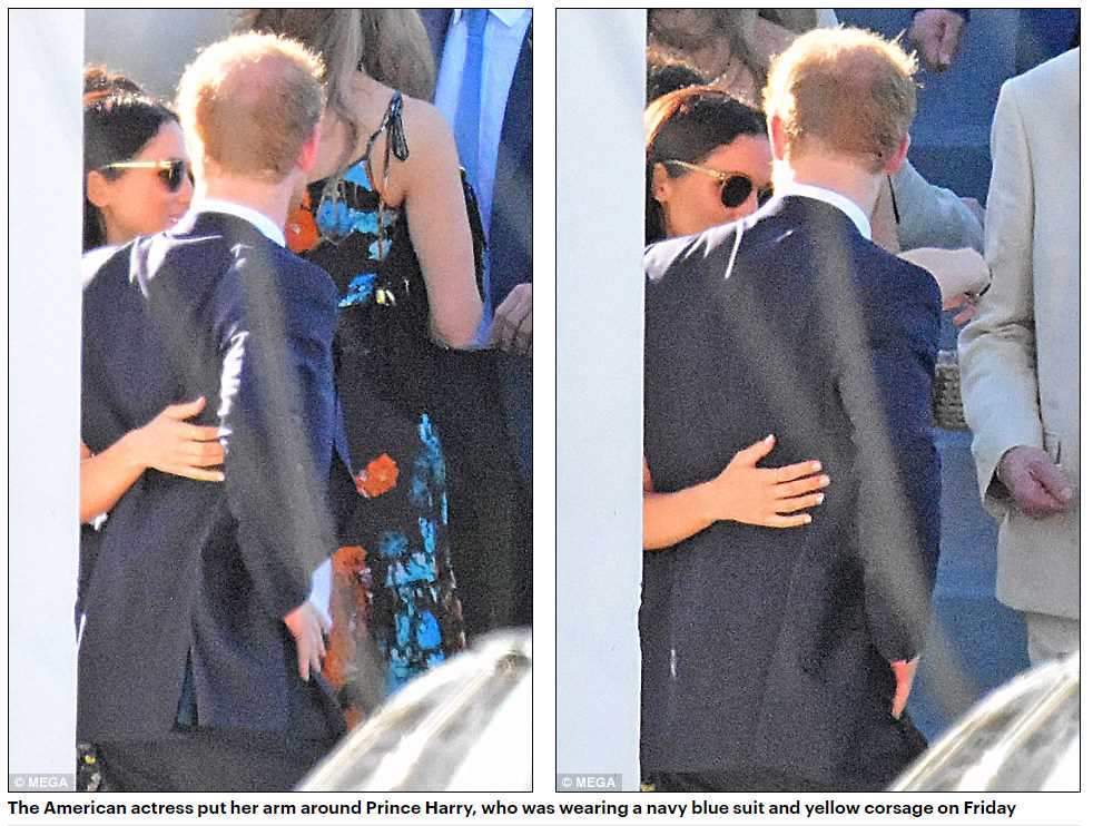 The-American-actress-put-her-arm-around-Prince-Harry-who-was-wearing-a-navy-blue-suit-and-yellow-corsage-on-Friday