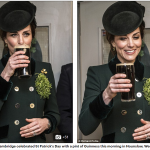 The Duchess of Cambridge celebrated St Patricks Day with a pint of Guinness this morning in Hounslow West London