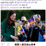 The Duchess of Cambridge will attend the opening night of @42ndStreetLDN at @TheatreRoyalDL in aid of @EACH hospices on 4th April.