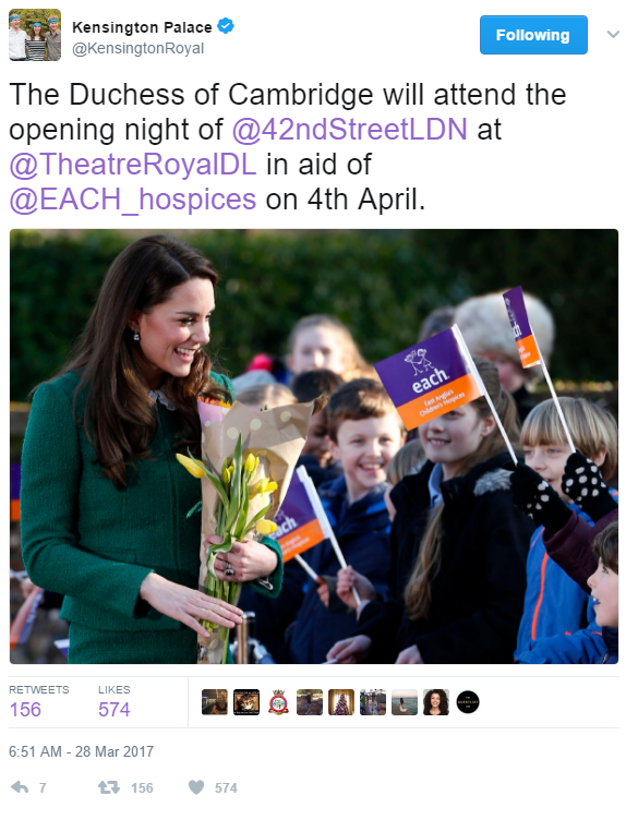 The Duchess of Cambridge will attend the opening night of @42ndStreetLDN at @TheatreRoyalDL in aid of @EACH_hospices on 4th April.