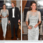 The Duchess of Cambridge wowed in an ice blue Jenny Packham gown at a dinner hosted by Her Majestys Ambassador to France Edward Llewellyn