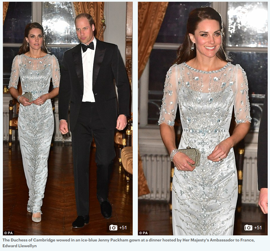 The Duchess of Cambridge wowed in an ice-blue Jenny Packham gown at a dinner hosted by Her Majesty's Ambassador to France, Edward Llewellyn