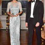 The Duchess of Cambridge wowed in an ice blue Jenny Packham gown in Paris today at a dinner hosted by Her Majestys Ambassador to France