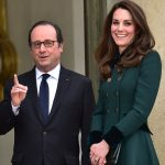 The Duchess spoke to President Holland on the steps of the Elysée Palace on Friday afternoon before the evenings gala