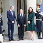 The Duke and Duchess of Cambridge meet French President Francois Hollande at Elysée Palace as they arrived yesterday
